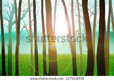 Trees silhouette with mountain and grass land as the background - stock photo