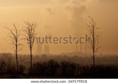 Trees, Smoking chimneys in background - stock photo