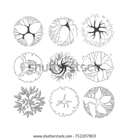 Trees Top View For Landscape Design Black And White Icon Architectural Plan