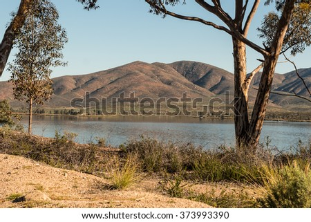 Trees with lake and mountain background at Lower Otay Lake in Chula Vista, California. - stock photo
