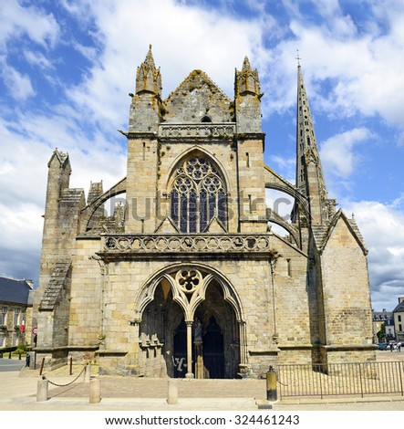 TREGUIER, FRANCE - JULY 2, 2015:  Treguier Cathedral (Cathedrale Saint-Tugdual de Treguier) is a Roman Catholic church and former cathedral in Treguier in Brittany, dedicated to Saint Tudwal.