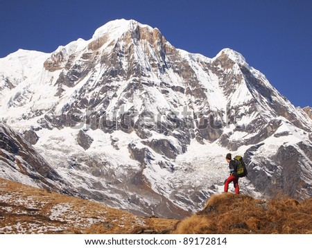 treking in himalayas / backpacker in Annapurna region