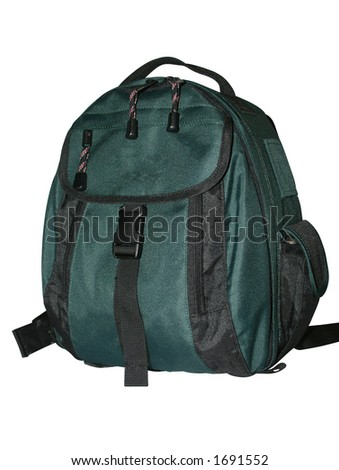 Trekker backpack isolated white background
