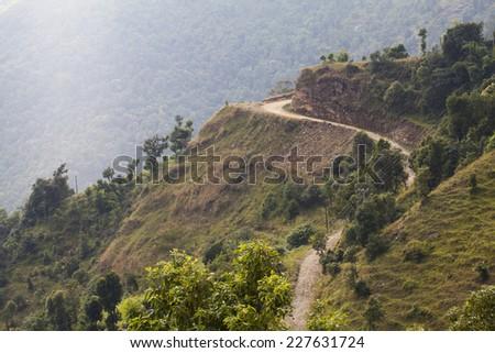 Trekking and climbing in Khumbu area, in Himalayas, Nepal - stock photo