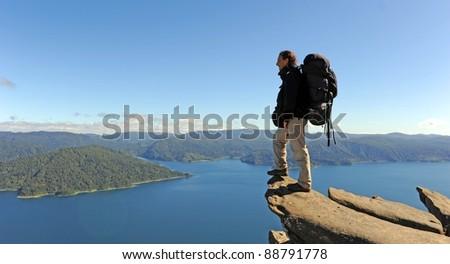 Trekking around the Lake Waikaremoana, New Zealand - stock photo