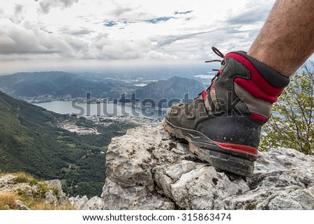 Trekking boots - stock photo