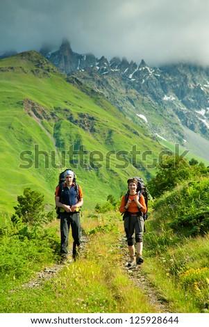 Trekking in Caucasus mountains Georgia, Svaneti region - stock photo