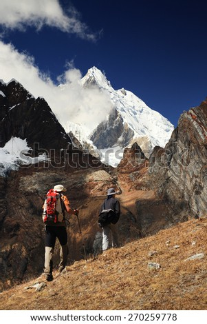 Trekking in Cordiliera Huayhuash, Peru, South America - stock photo