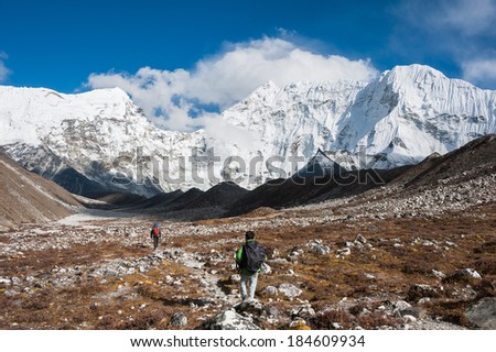 Trekking in Everest region on the route to Island peak base camp, Nepal - stock photo