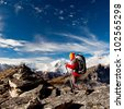 Trekking in Himalaya mountains - stock photo