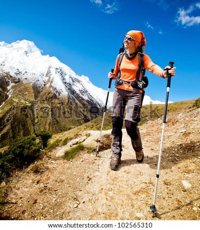 Trekking in Himalaya mountains - stock photo
