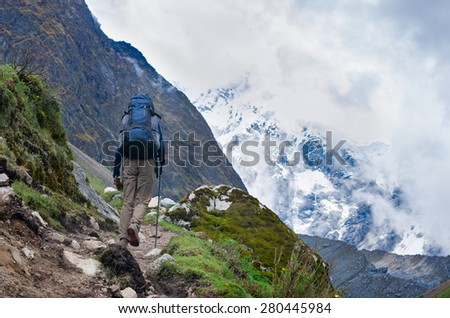 trekking in mountains, Peru, South America - stock photo