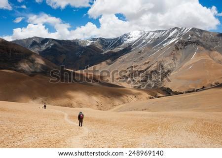 Trekking in upper Mustang, Nepal - stock photo