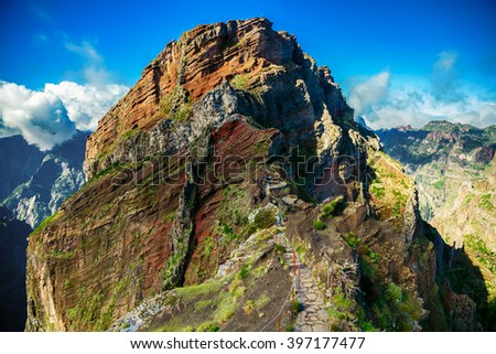 trekking path leading to the big cliff at the Pico do Arieiro surrounding areas, Madeira, Portugal