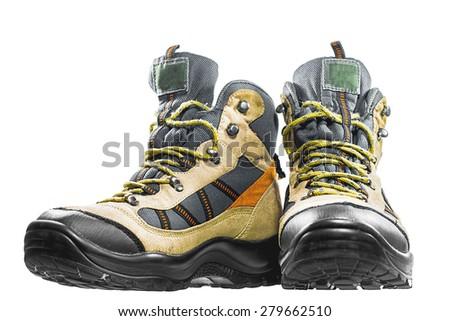 Trekking shoes, isolate, footwear, hiking, walking, gear, hike - stock photo