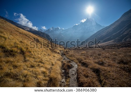 Trekking to Annapurna Base Camp at Himalaya Nepal