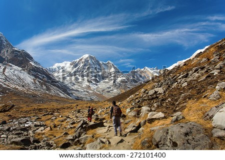 Trekking to Annapurna Base Camp with Annapurna I in a background. Himalaya Mountains in Nepal - stock photo