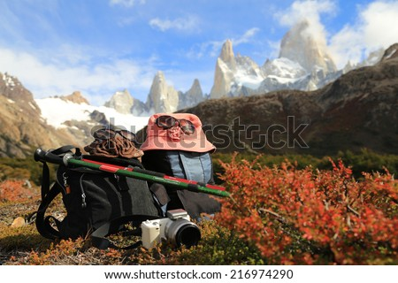 Trekking to Mt Fitz Roy in El Chalten,Patagonia Argentina  - stock photo