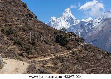 Trekking trail to Khumjung village, Everest region, Nepal - stock photo