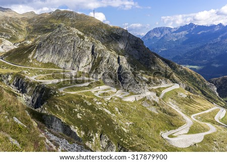 Tremola, road to pass Gotthard in the Swiss mountains - stock photo