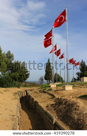 Trenches in Gallipoli Turkey used in the first world war with Turkish flags waing - stock photo