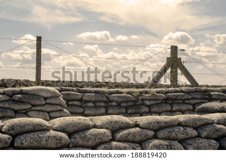 Trenches of world war one sandbags in Belgium - stock photo