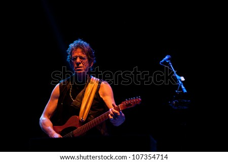 TRENCIN - JULY 5: Lou Reed performs on stage during Pohoda music festival in Trencin, Slovakia, on July 5, 2011.