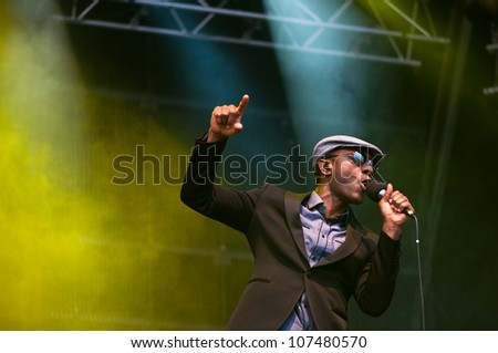 TRENCIN,SLOVAKIA - JULY 6: Aloe Blacc performs at the Bazant Pohoda Music Festival at the Trencin Airport in Trencin, Slovakia on July 6, 2012