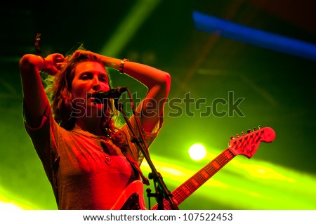 TRENCIN,SLOVAKIA - JULY 6: experimental rock group Warpaint performs at the Bazant Pohoda Music Festival at the Trencin Airport in Trencin, Slovakia on July 6, 2012.