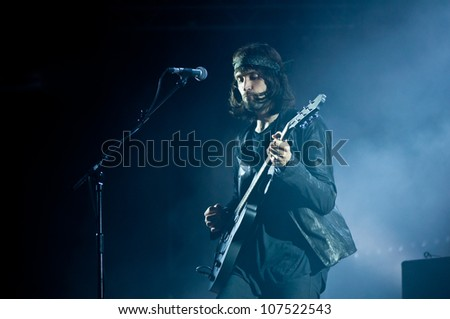 TRENCIN,SLOVAKIA - JULY 6: Sergio Pizzorno of Kasabian performs at the Bazant Pohoda Music Festival at the Trencin Airport in Trencin, Slovakia on July 6, 2012.
