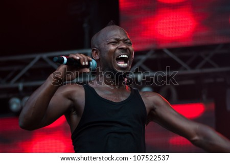TRENCIN,SLOVAKIA - JULY 6: The Heavy's Kelvin Swaby performs at the Bazant Pohoda Music Festival at the Trencin Airport in Trencin, Slovakia on July 6, 2012.