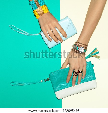 Trend Accessories. Jewelry and Clutch. Your Summer Choice - stock photo
