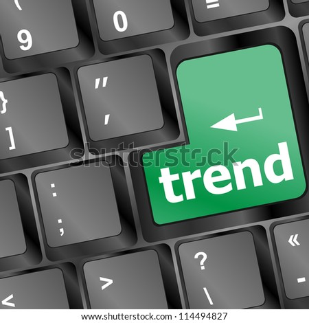 Trend button on keyboard with soft focus. raster