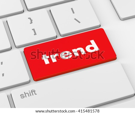 Trend button on keyboard with soft focus. raster, 3d rendering