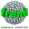 Trend Word on Hashtag Tag Sphere Trending Topics - stock photo