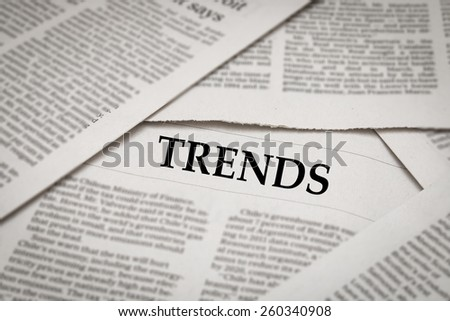 trends headline on newspaper
