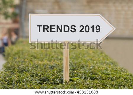 Trends 2019 signpost - stock photo
