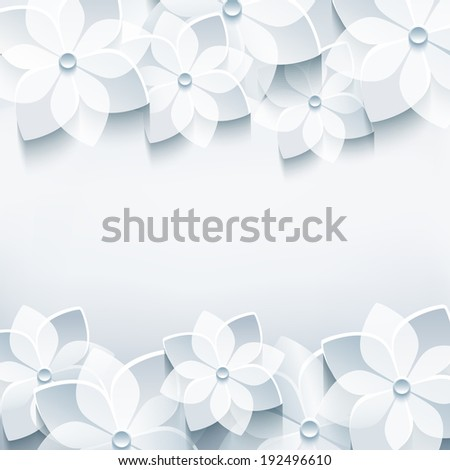 Trendy abstract floral gray background with stylized 3d sakura flower. Stylish modern background. Invitation or greeting card for wedding, birthday, anniversary and life events. Raster version - stock photo
