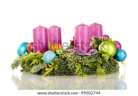 Trendy advent wreath isolated on white - stock photo