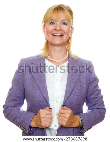 Trendy attractive senior aged business woman 55-65 years with a lovely charming smile, white teeth, wearing stylish suit, Positive human emotion, facial expression, isolated - stock photo