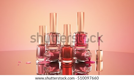 Trendy beautiful background with cosmetics: nail Polish. 3D illustration, 3D rendering.