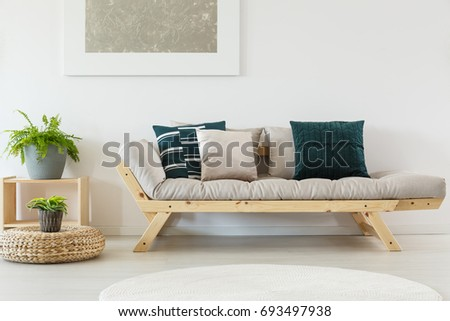 trendy beige sofa with navy blue pillows and wooden frame cupboard and plants in simple