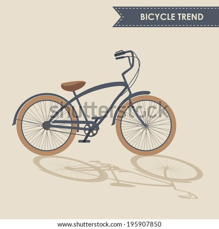 Trendy bike with brown wheels and oblique shadow on beige background isolated. Contains EPS10 and high-resolution JPEG. Text is outlined
