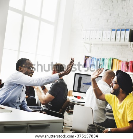 Trendy Business Office Success High Five Concept - stock photo