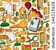 Trendy colorful real estate icons set seamless pattern. Vector file layered for easy manipulation and custom coloring. - stock vector