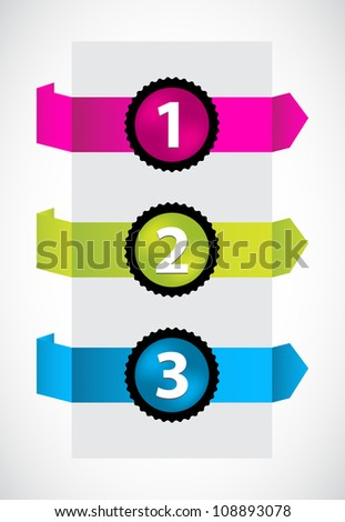 trendy colors origami with special numbered buttons - stock photo