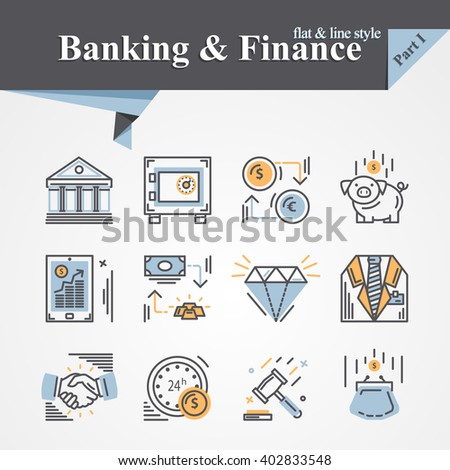 Trendy flat and line Banking and Finance icon m-banking,savings,internet payment security,savings, partnership,online banking,online services,exchange,cash.For apps,developers,designers. - stock photo