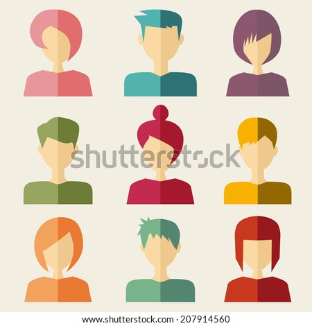trendy flat people icons - stock photo
