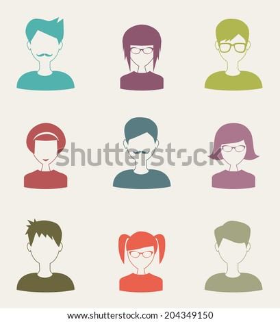 trendy flat people icons set 2 - stock photo