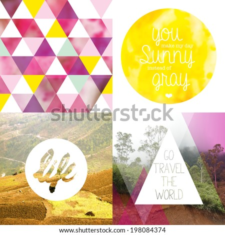Trendy geometric mixed media photography inspirational text quote poster collection background - stock photo